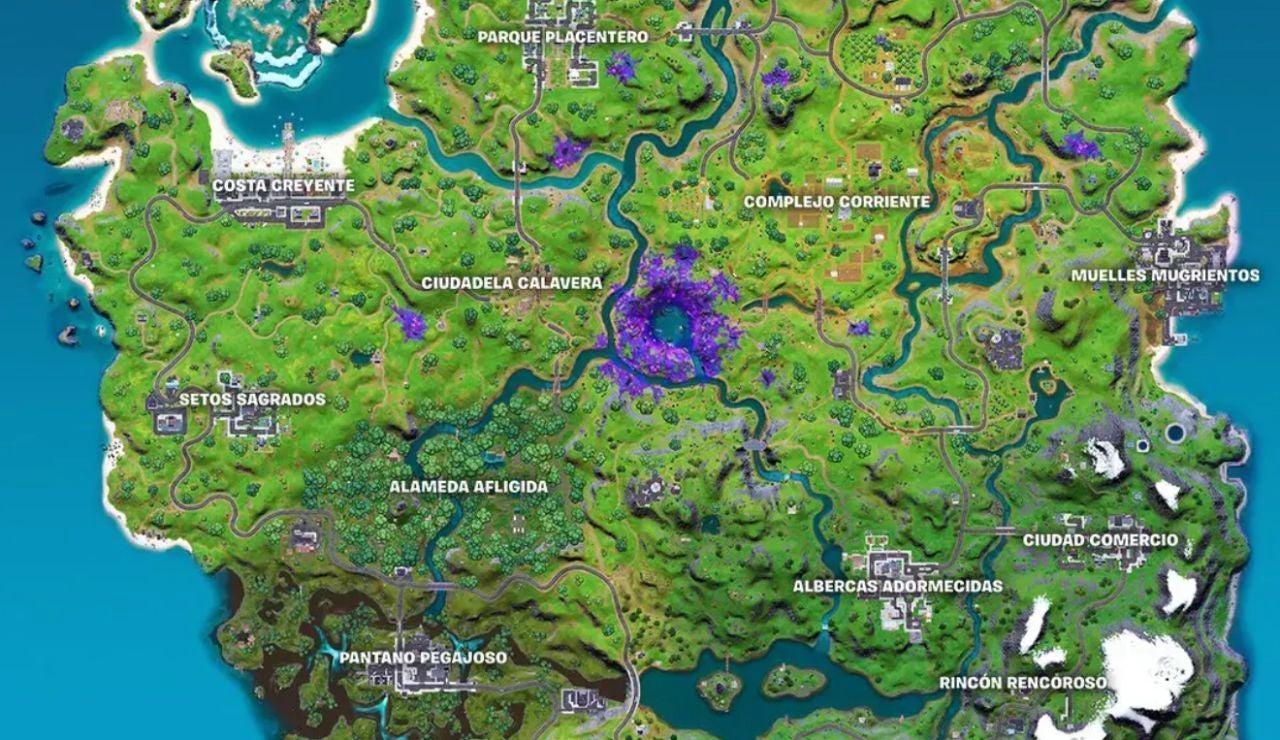 Nuevo mapa de la temporada 7 de Fortnite.