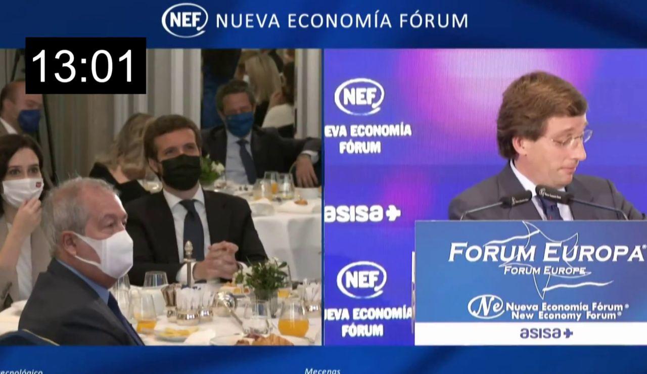 Martínez-Almeida se burla del encuentro entre Sánchez y Biden guardando medio minuto de silencio