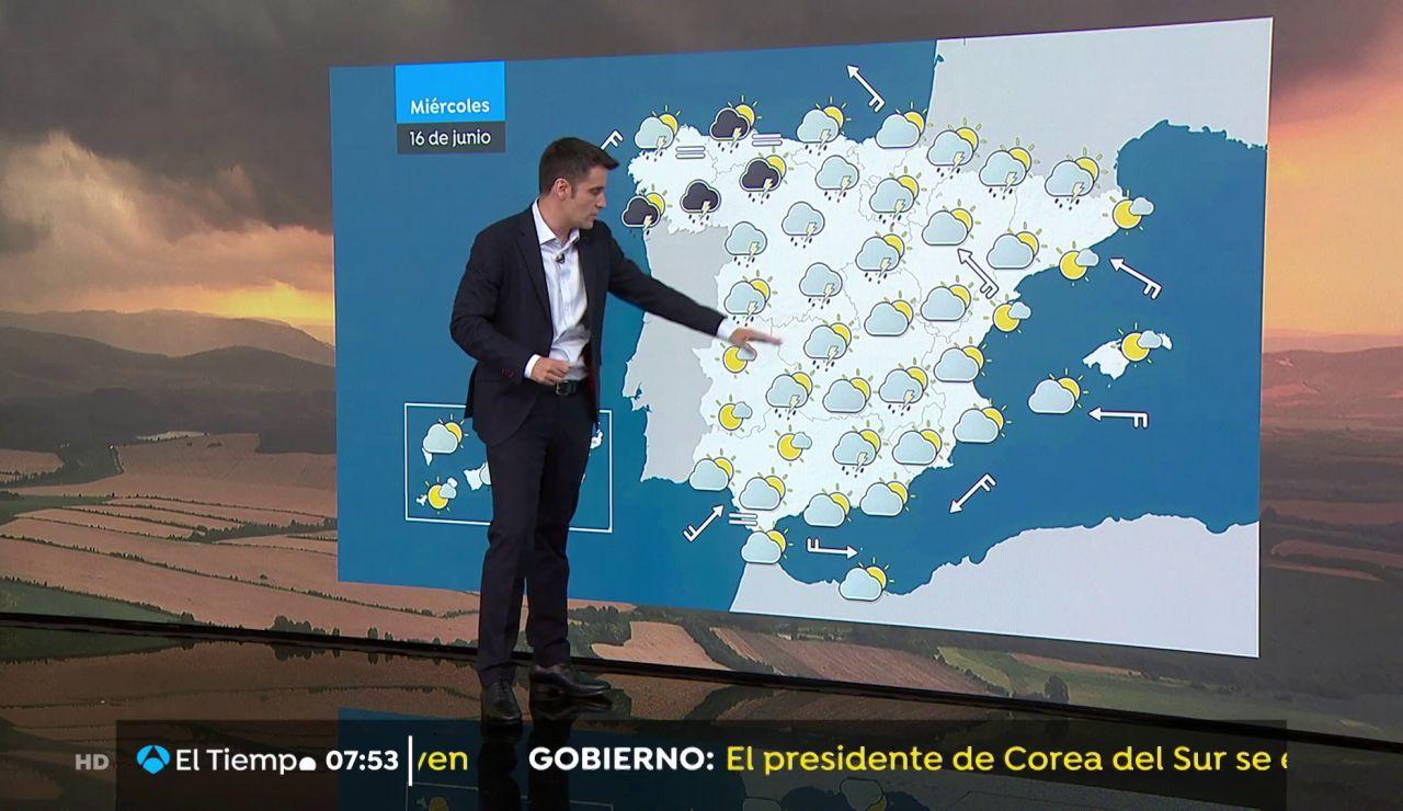 La previsión del tiempo hoy:  Lluvias con tormentas en el tercio norte e interior peninsular