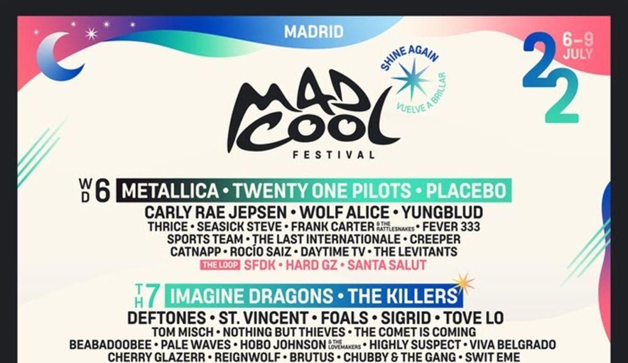 Metallica, The Killers e Imagine Dragons, en el cartel de festival Mad Cool de Madrid en 2022