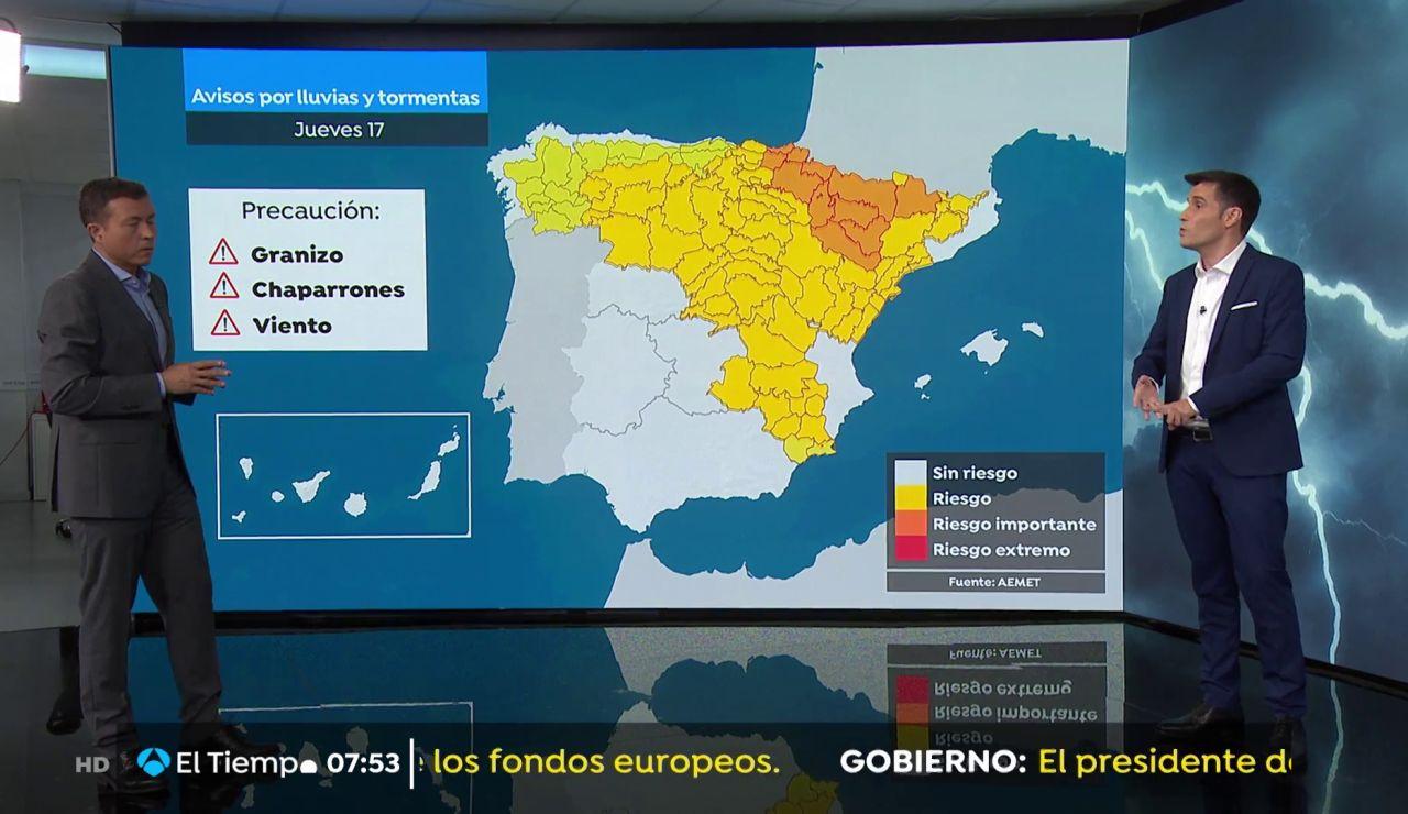 La previsión del tiempo hoy: Lluvias fuertes y con granizo en Aragón, Navarra y Pirineos