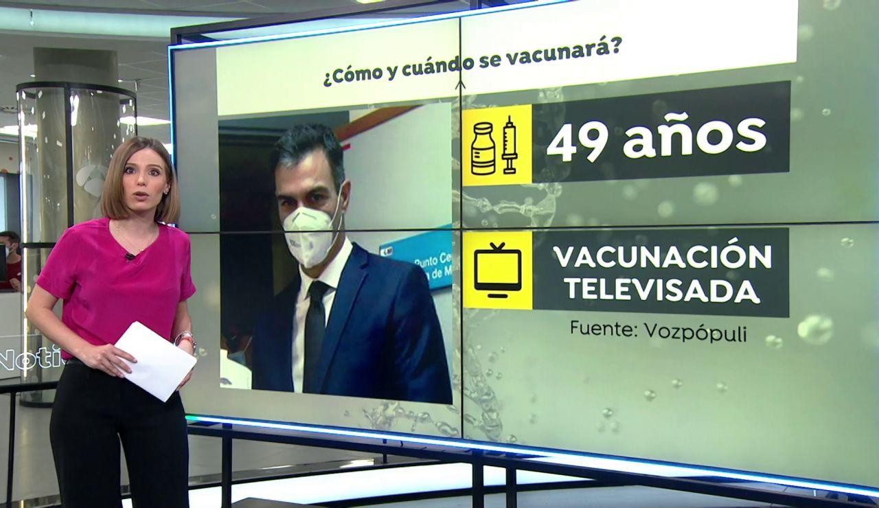 La vacunación de Pedro Sánchez, que le corresponde pronto por edad, será televisada