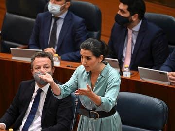 La portavoz de Vox en la Asamblea, Rocío Monasterio, interviene en la segunda y última sesión del debate de investidura de Isabel Díaz Ayuso como presidenta de la Comunidad de Madrid