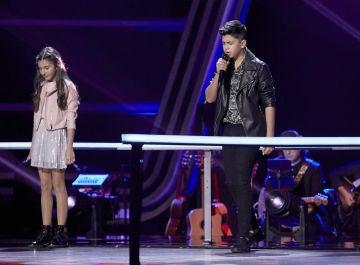 Leonor, Dayron y Rocío cantan 'Ángel caído' en las Batallas de 'La Voz Kids'