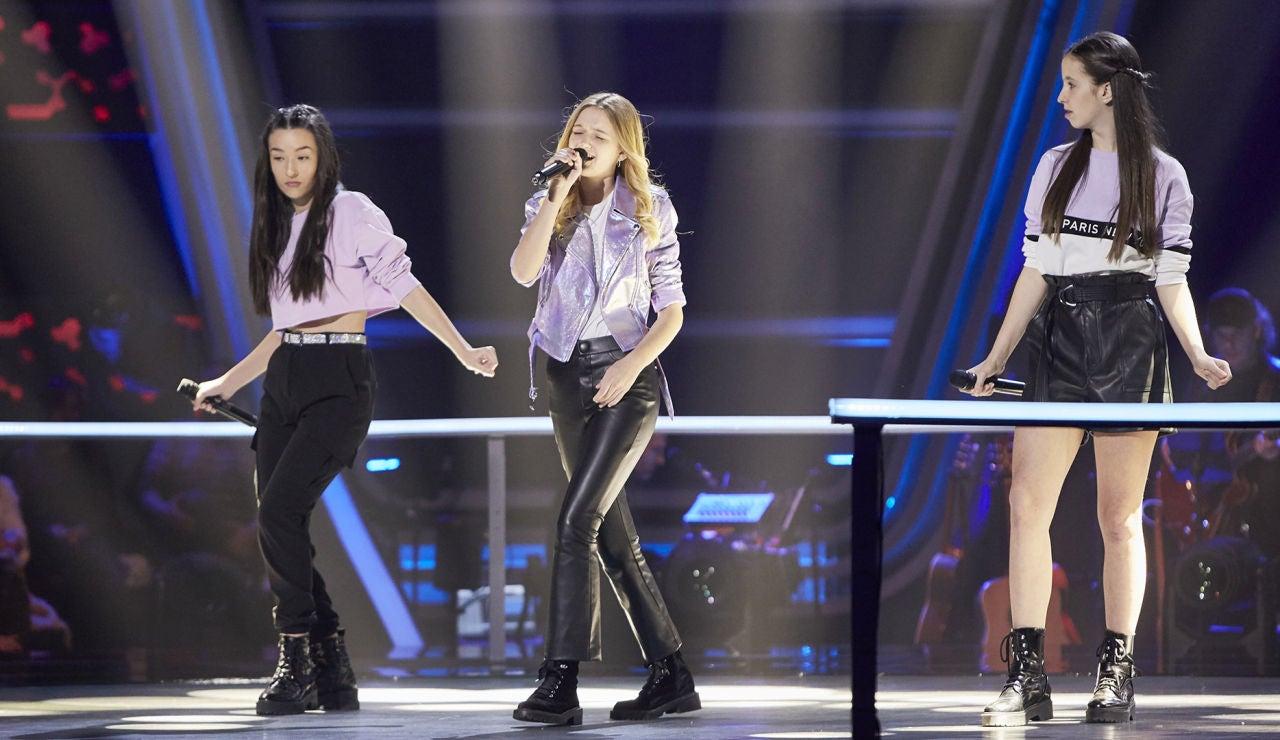 Georgia, Lucía y Patricia cantan 'Can't stop the feeling' en las Batallas de 'La Voz Kids'