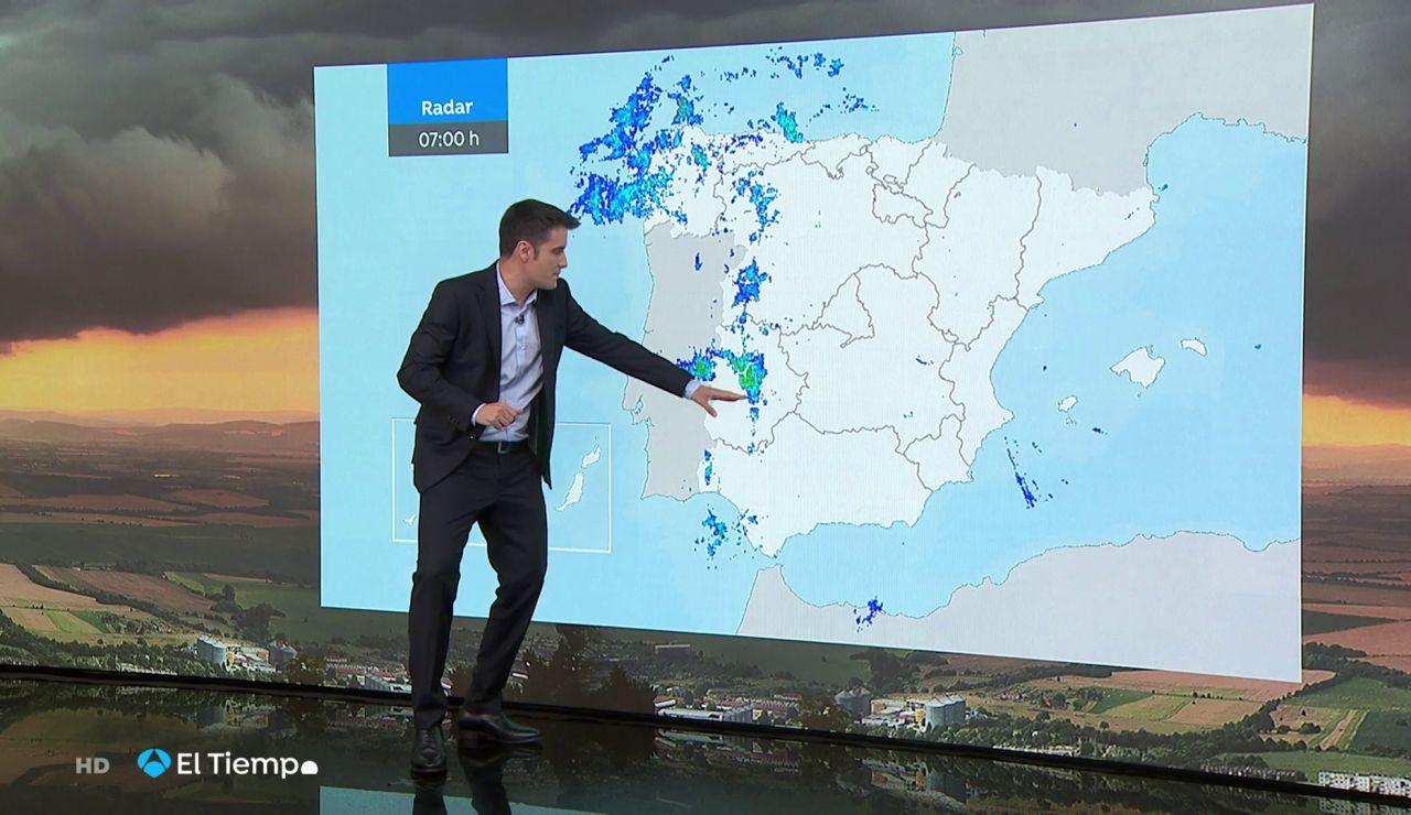 La previsión del tiempo hoy: Lluvias con granizo en Extremadura, area Cantábrica, alto Ebro e interior de Galicia
