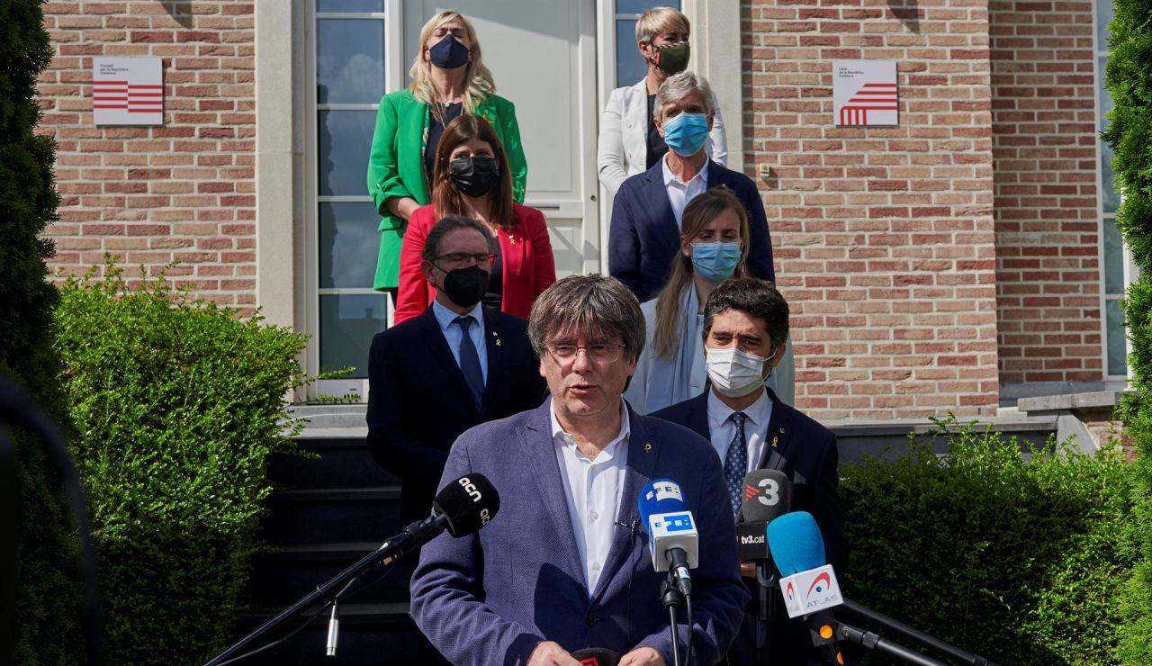 Carles Puigdemont tras reunirse con 7 miembros del Govern en Bélgica