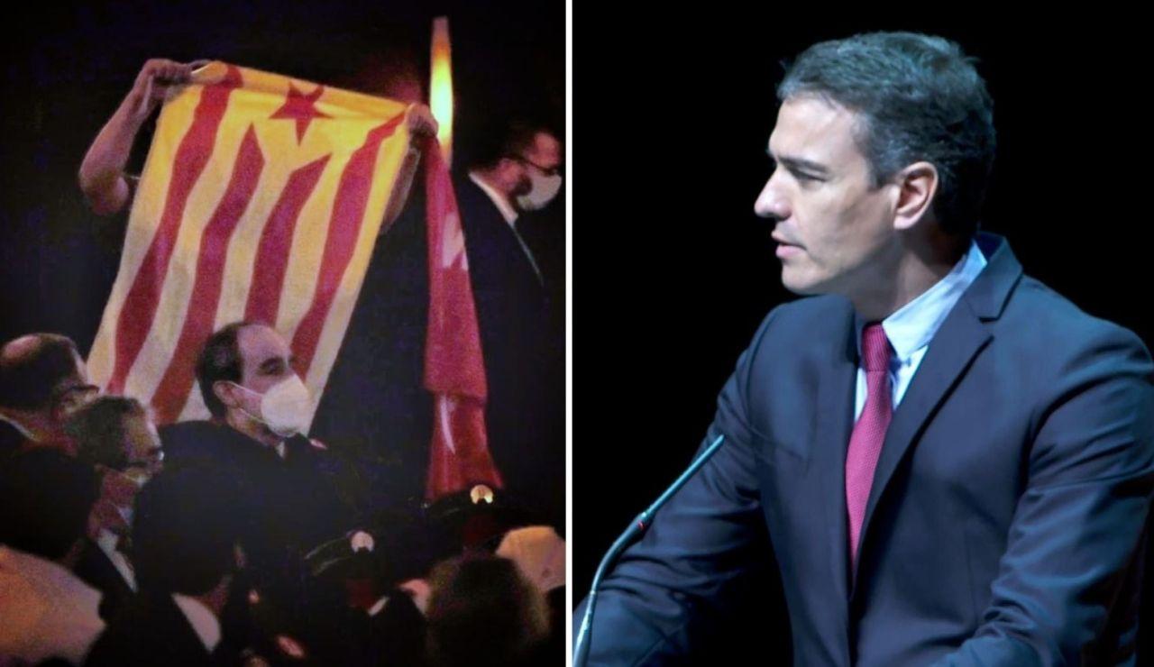 """Uno de los independentistas que ha pedido """"amnistía"""" durante la intervención de Sánchez en el Gran Teatro Liceu de Barcelona"""