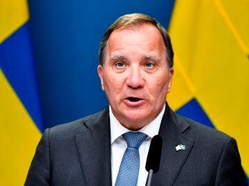 El Primer Ministro de Suecia, Stefan Löfven, durante una conferencia de prensa