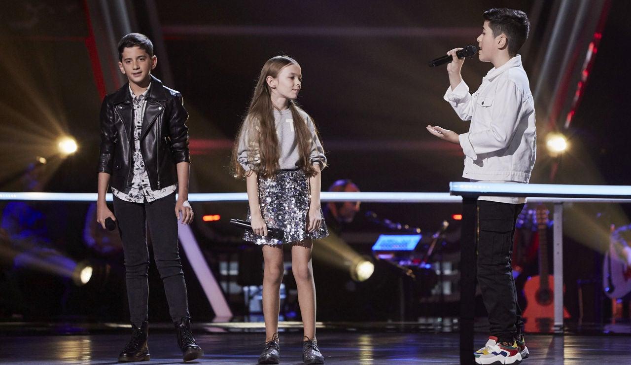 Elieser, Lukas y María cantan 'Recuérdame' en las Batallas de 'La Voz Kids'