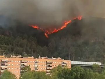 Un espectacular incendio en Castellví de Rosanes obliga a confinar varios barrios de la zona
