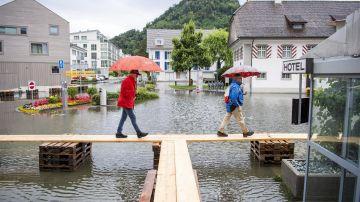 El pueblo de Stansstad, en Suiza, inundado por las tormentas, al igual que Alemania.