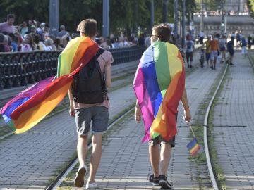 Participantes en la marcha del Orgullo celebrada el pasado 8 de julio en Budapest