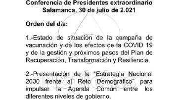 Orden del día de la Conferencia de Presidentes
