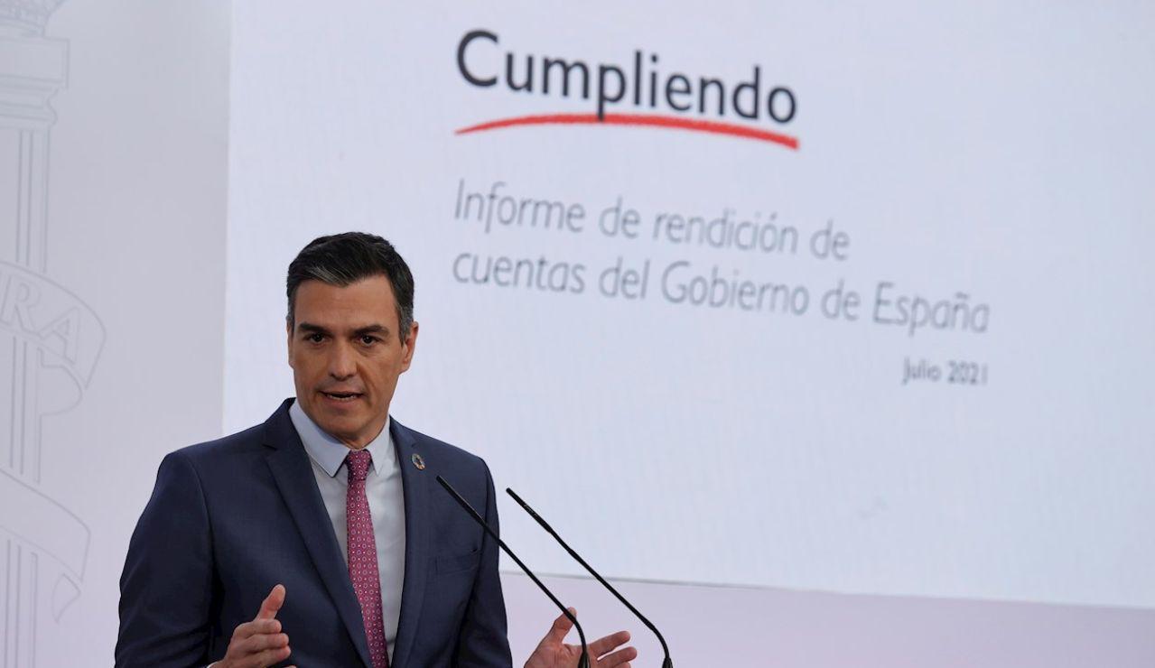 El presidente del Gobierno, Pedro Sánchez, hace balance del curso político marcado por la pandemia y la reapertura del diálogo con Cataluña y presenta un informe sobre el cumplimiento de los compromisos contraídos por el Ejecutivo