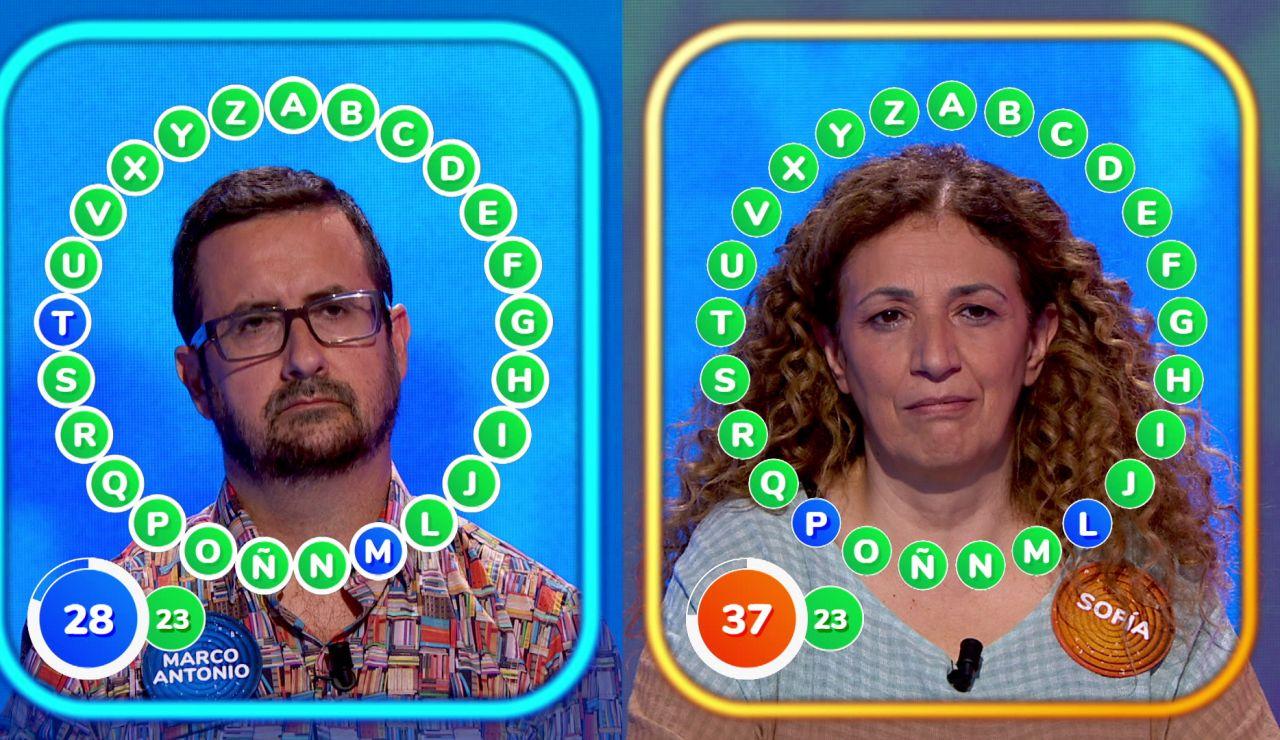 ¡Más tenso imposible! Sofía y Marco Antonio empatados a 23 aciertos en 'El Rosco'