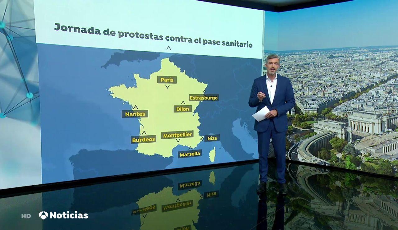 Protestas en Francia contra el certificado sanitario que entrará en vigor el 9 de agosto