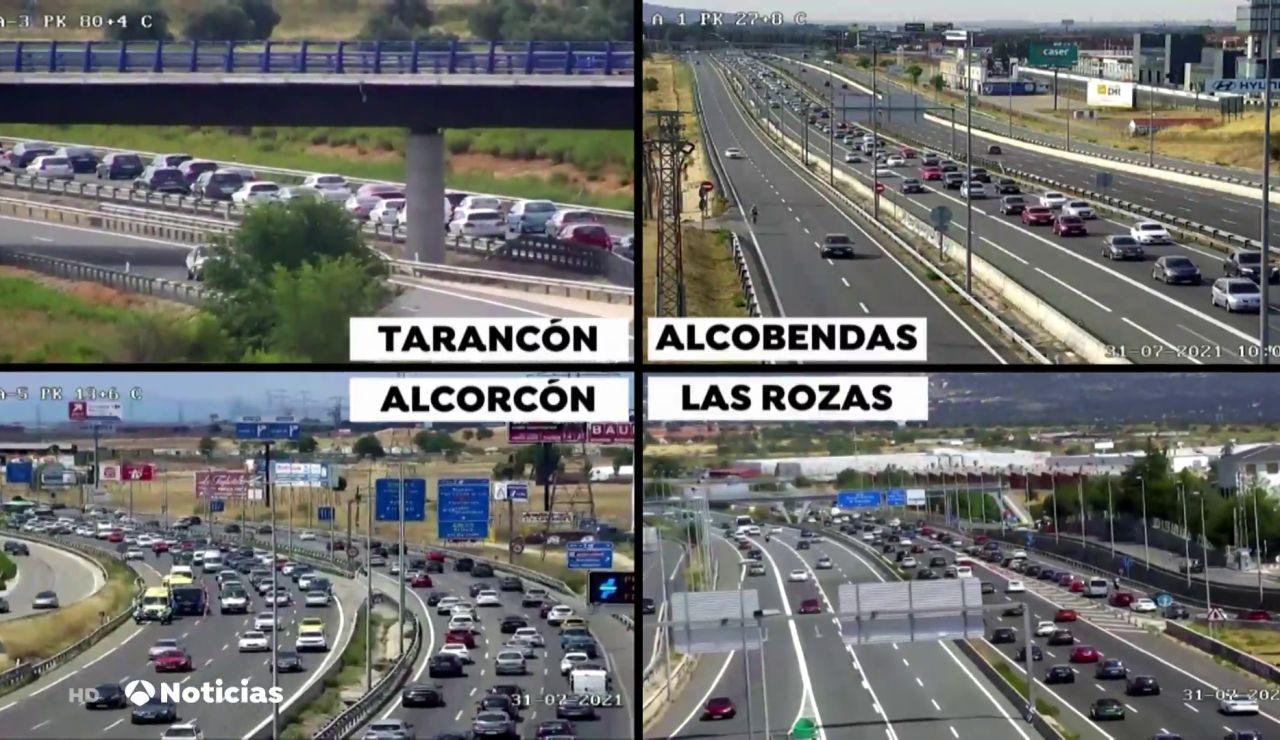 Accidentes en Madrid, Cuenca y Barcelona colapsan la segunda jornada de la operación salida