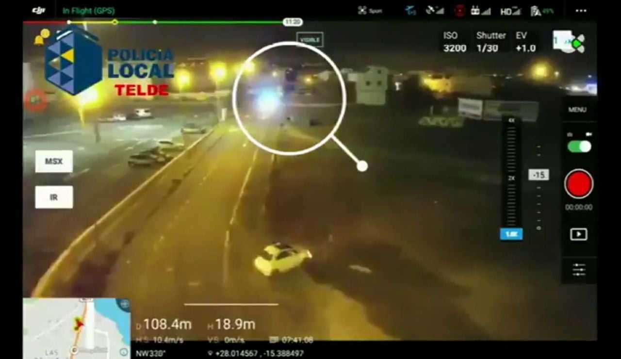 Un dron 'caza' a una conductora que pretendía evitar un control en Canarias
