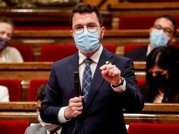 """Pere Aragonés dice que quieren un """"nuevo referéndum"""" y que solo la población de Cataluña """"determina la independencia"""""""