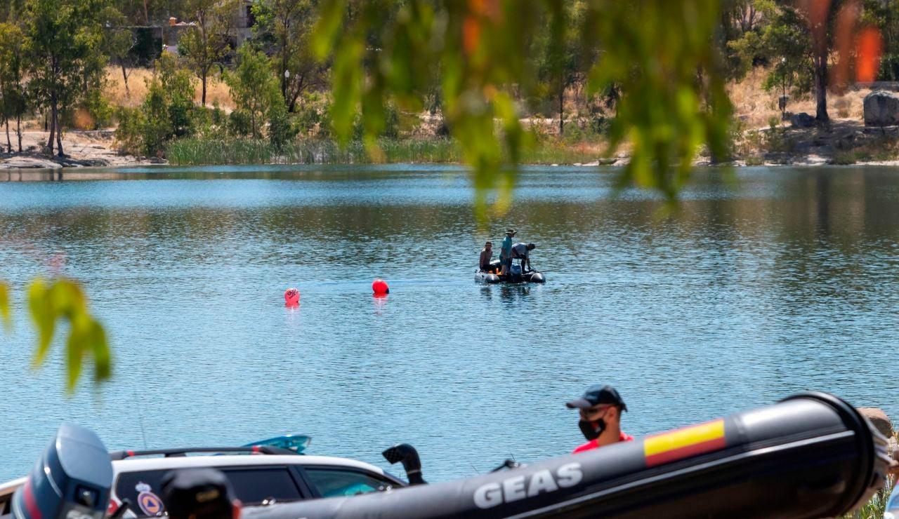 Parte del dispositivo de búsqueda del hombre ahogado en el pantano de Proserpina, en Mérida