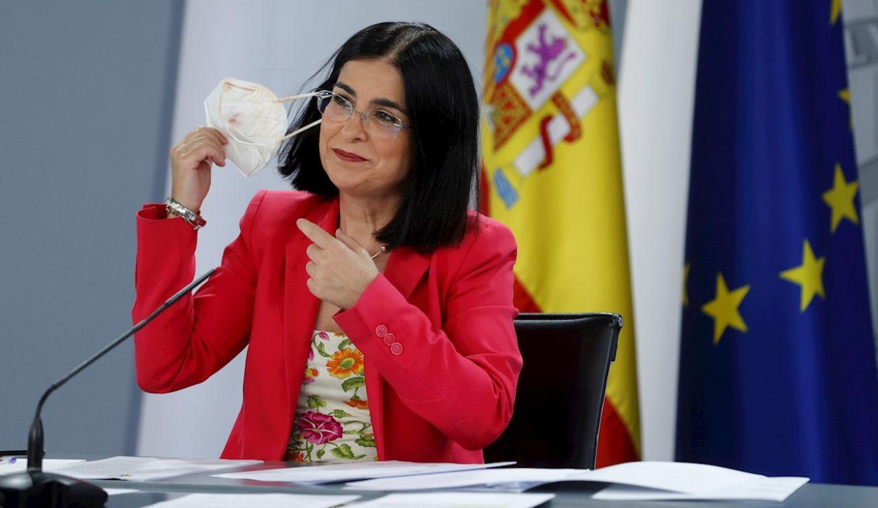 La ministra de Sanidad, Carolina Darias, durante la rueda de prensa ofrecida tras presidir, por videoconferencia, la reunión del Consejo Interterritorial del Sistema Nacional de Salud, este miércoles en Madrid