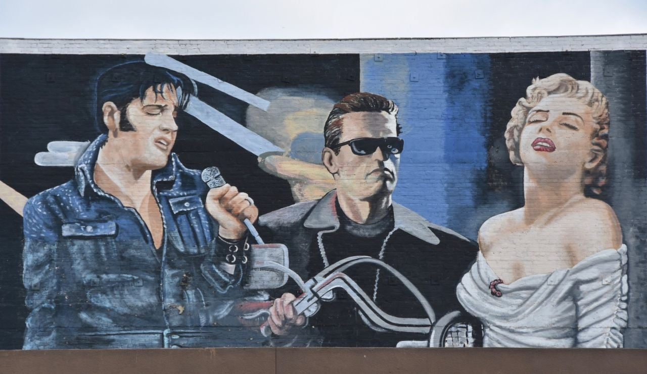 Dibujo de Elvis Presley, Arnold Schwarzenegger y Marilyn Monroe