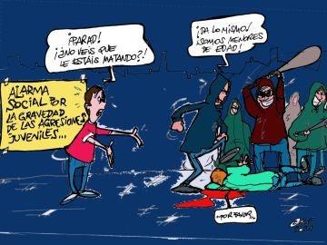 El aumento de la violencia juvenil, en la viñeta gráfica de Alfredo Boto-Hervás