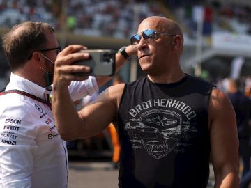 El actor Vin Diesel durante el Gran Premio de Monza (Italia) de Fórmula 1