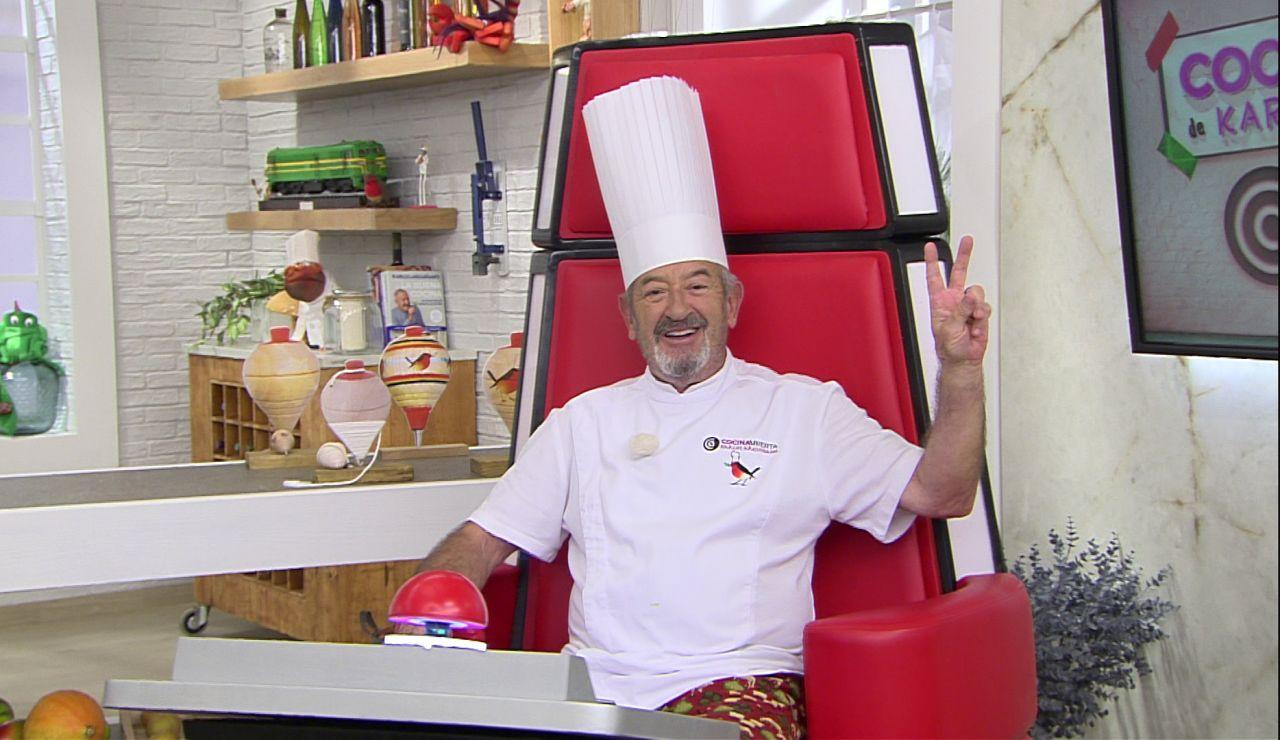 Karlos Arguiñano se sienta en el sillón de 'La Voz'