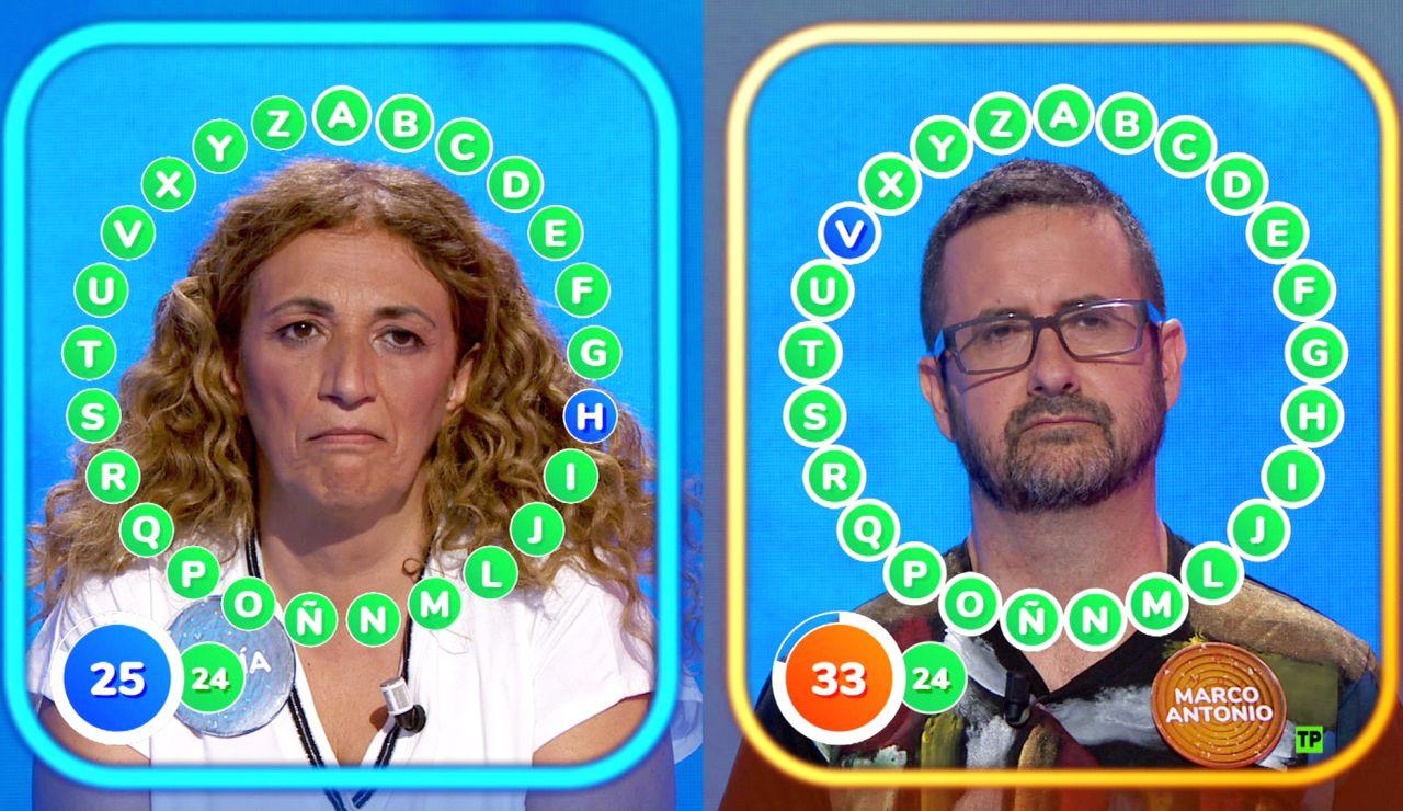 'Pasapalabra' vivirá este lunes un momento histórico: Marco Antonio y Sofía, otra vez a una en 'El Rosco'