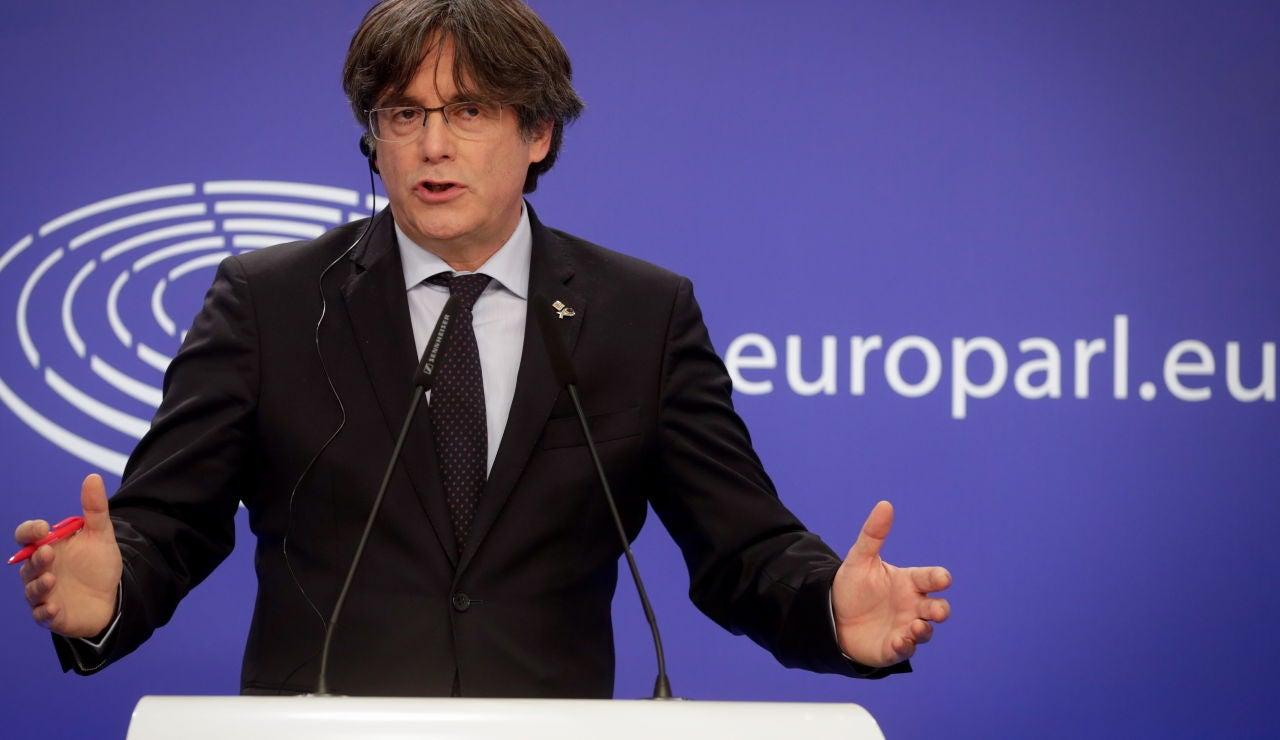 Carles Puigdemont durante una rueda de prensa en el Parlamento Europeo en Bruselas.