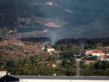 magen hoy Domingo de la colada de lava expulsada por el volcán Cumbre Vieja de La Palma por encima del pueblo palmeño de Todoque