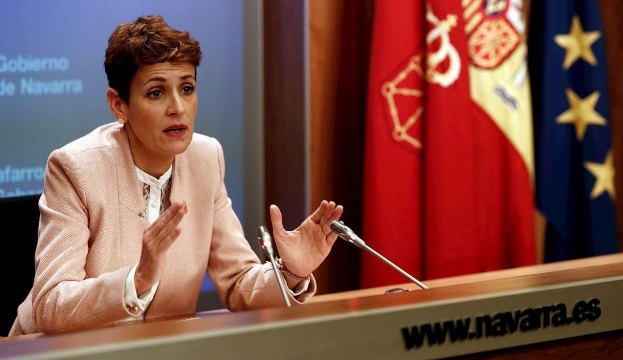 - La presidenta del Gobierno de Navarra, María Chivite, durante la rueda de prensa