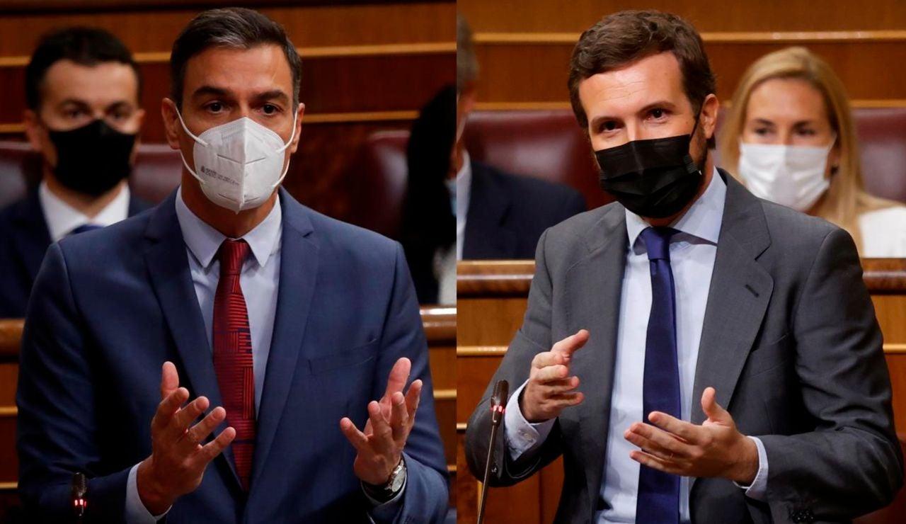 Pedro Sánchez y Pablo Casado en la sesión de control