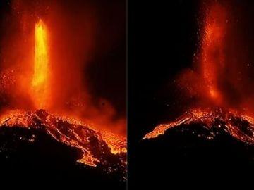 Dos fotografías realizadas con 1 minuto de diferencia muestran el avance de la lava del volcán de La Palma