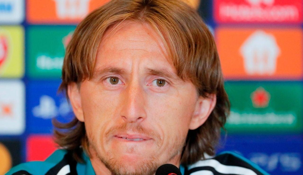 Luka Modric durante la rueda de prensa