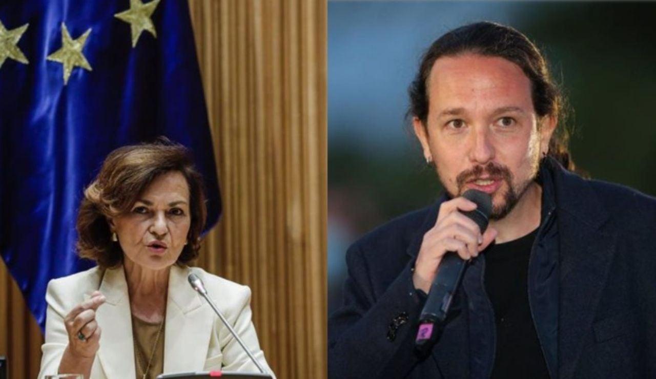 Pablo Iglesias y Carmen Calvo