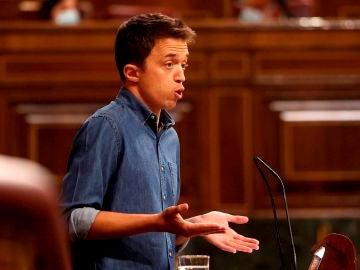 El líder de Más País, Iñigo Errejón, interviene durante el pleno celebrado en el Congreso de los Diputados