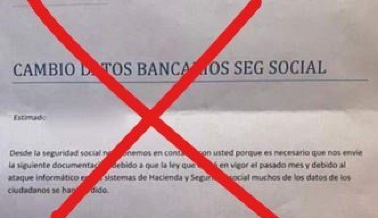 La Seguridad Social alerta de una nueva estafa en su nombre: un caso de 'phishing' en forma de carta