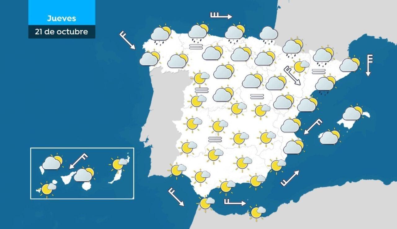 Llegan las lluvias a Galicia y se mantienen los cielos poco nubosos en el resto de la península