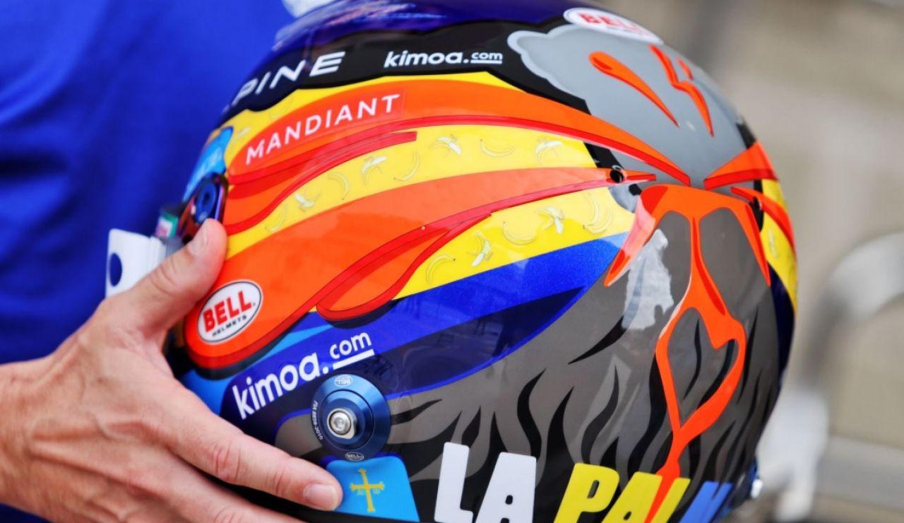 Así es el casco de Fernando Alonso en homenaje a los afectados por el volcán de La Palma
