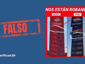 VERIFICA A3N: No nos están robando, la imagen viral que compara el precio de la gasolina entre Gibraltar y Cádiz es antigua