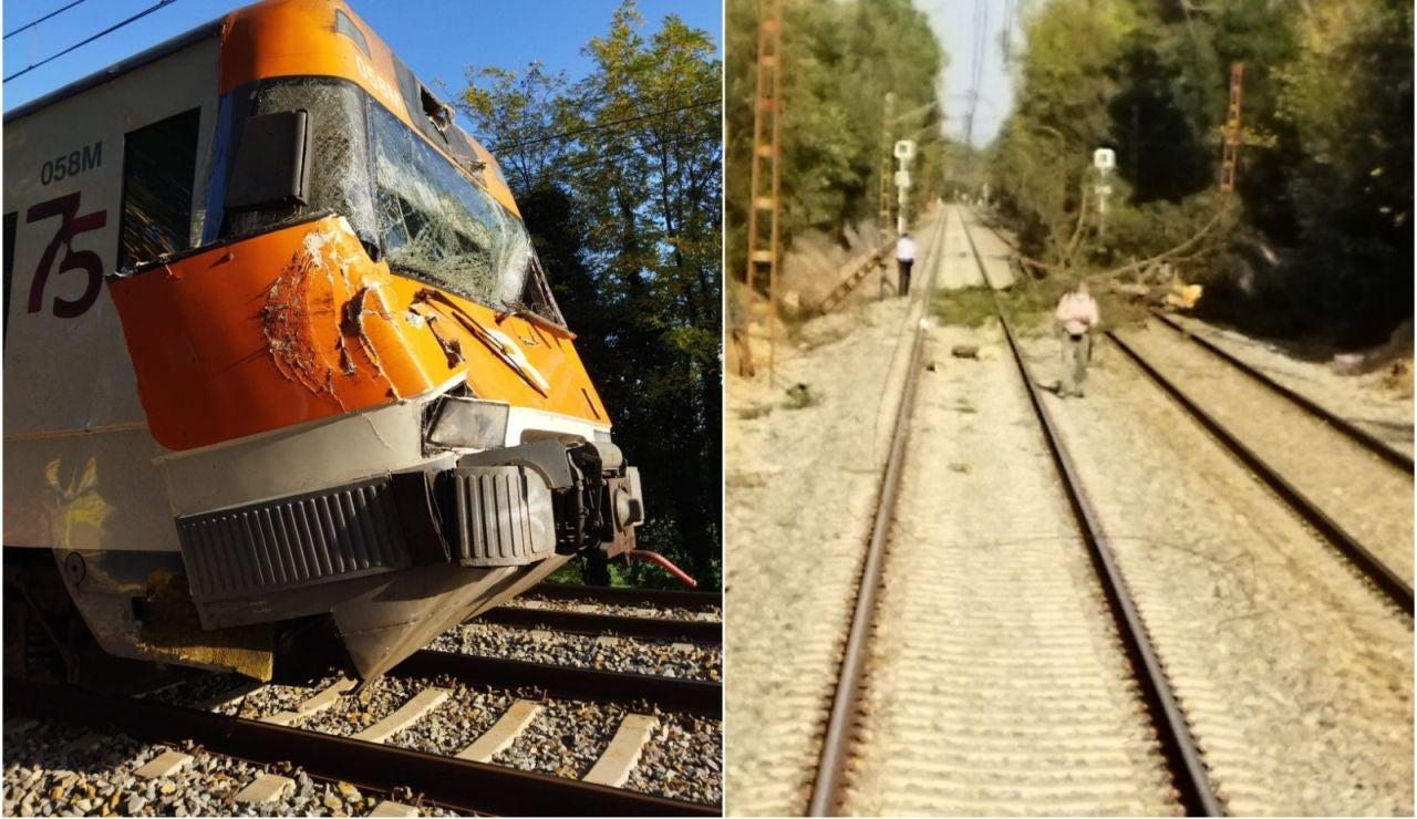 Doce heridos tras chocar un tren contra un árbol en Girona
