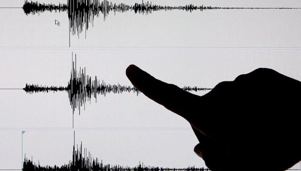 Registro de un seísmo en un sismógrafo