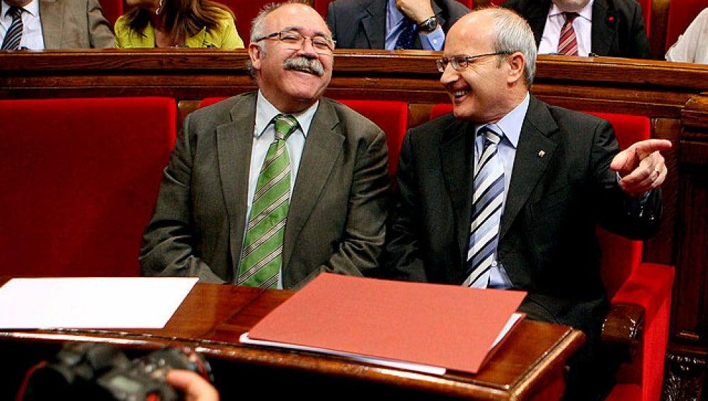 Carod Rovira y José Montilla, en el Parlament