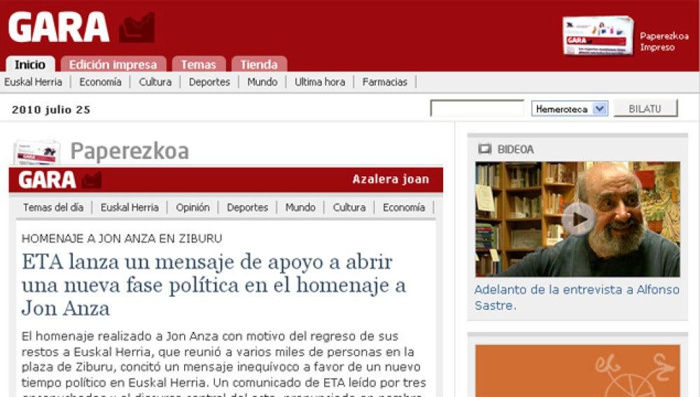 Edición digital del diario Gara