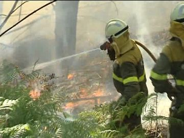 Trabajos de extinción del incendio de Ponteareas