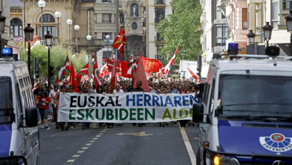 Manisfestación abertzale en San Sebastián