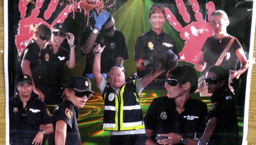Fotomonaje de las policías en la frontera de Melilla